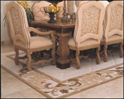 Formal dining room tile and area rug